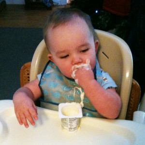 Arlis eating yogurt