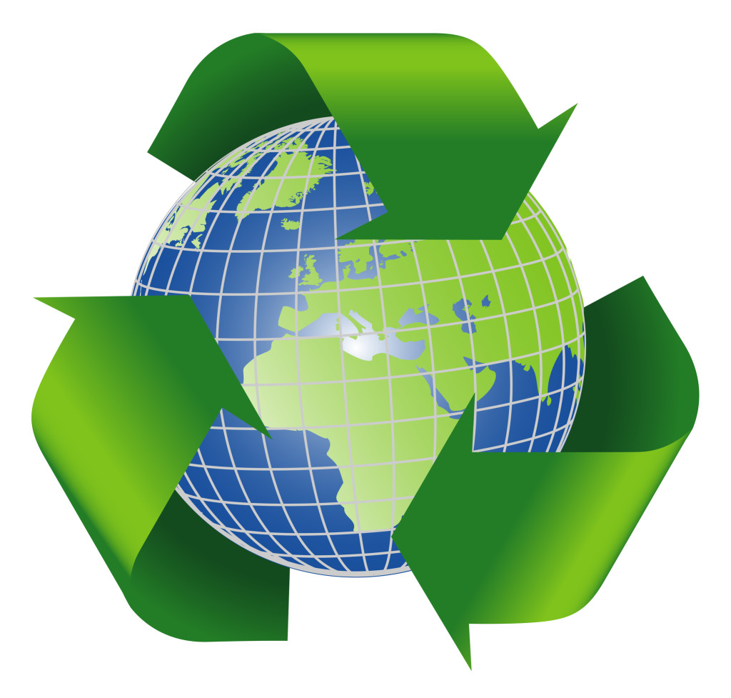 Recycle symbol with planet earth