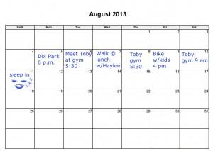 Blank Calendar August 2013