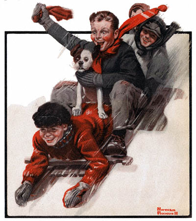 Norman Rockwell-sledding